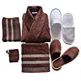 KOYOKA Rock Daniel 6 Pieces Luxury Bathrobe Set (1 Bathrobe, 1 Big Towels, 1 Hand Towels, 1 Slippers, 1 Soap Pouches & 1 Slipper Free) - Coffee, Free Size