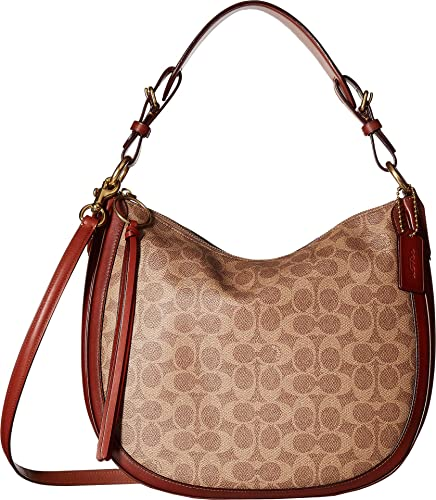 ca81fd49bd5 Amazon.com: COACH Women's Coated Canvas Signature Sutton Hobo B4/Tan Rust  One Size: Shoes