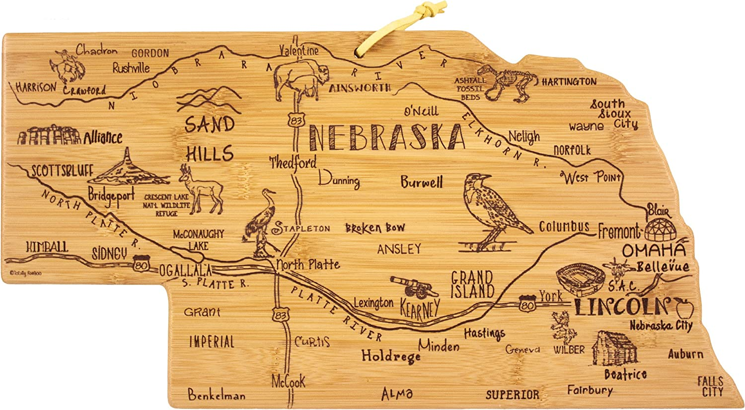 Totally Bamboo Nebraska State Destination Bamboo Serving and Cutting Board
