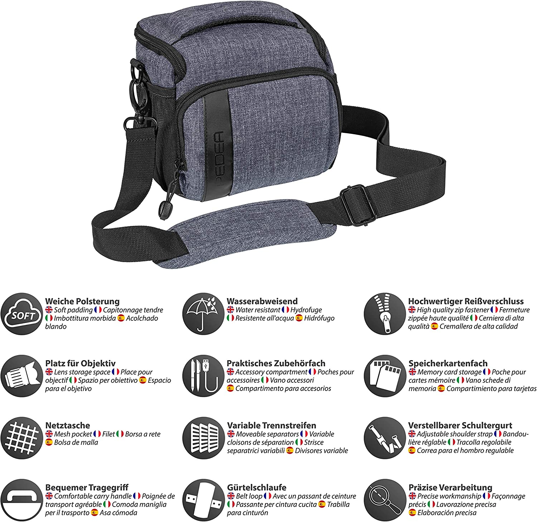 7R II PEDEA SLR Camera Shoulder Bag with Screen Protector for Nikon D500 1300D, DSC-RX10 // Canon EOS 77D 7M2 7M3 D300 Coolpix B500 // Sony Alpha 7 M D3500 1200D 200D Purple D750 D5200