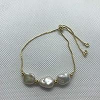 Pulsera mujer 3 Perlas Naturales extensión Rodio. Brazalete ajustable.