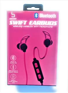 Bluetooth wireless Earbuds with microphone Pink swift headphones secure comfort fit