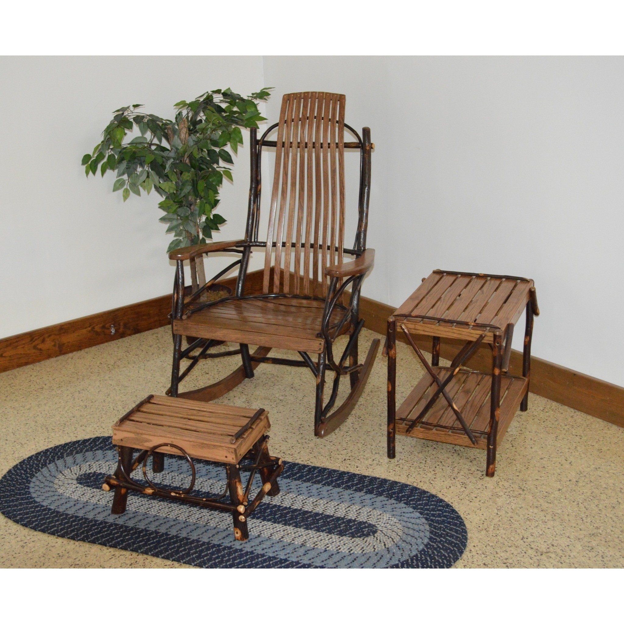 A&L FURNITURE CO. Hickory 9-Slat Rocker Chair w Foot Stool / End Table Set