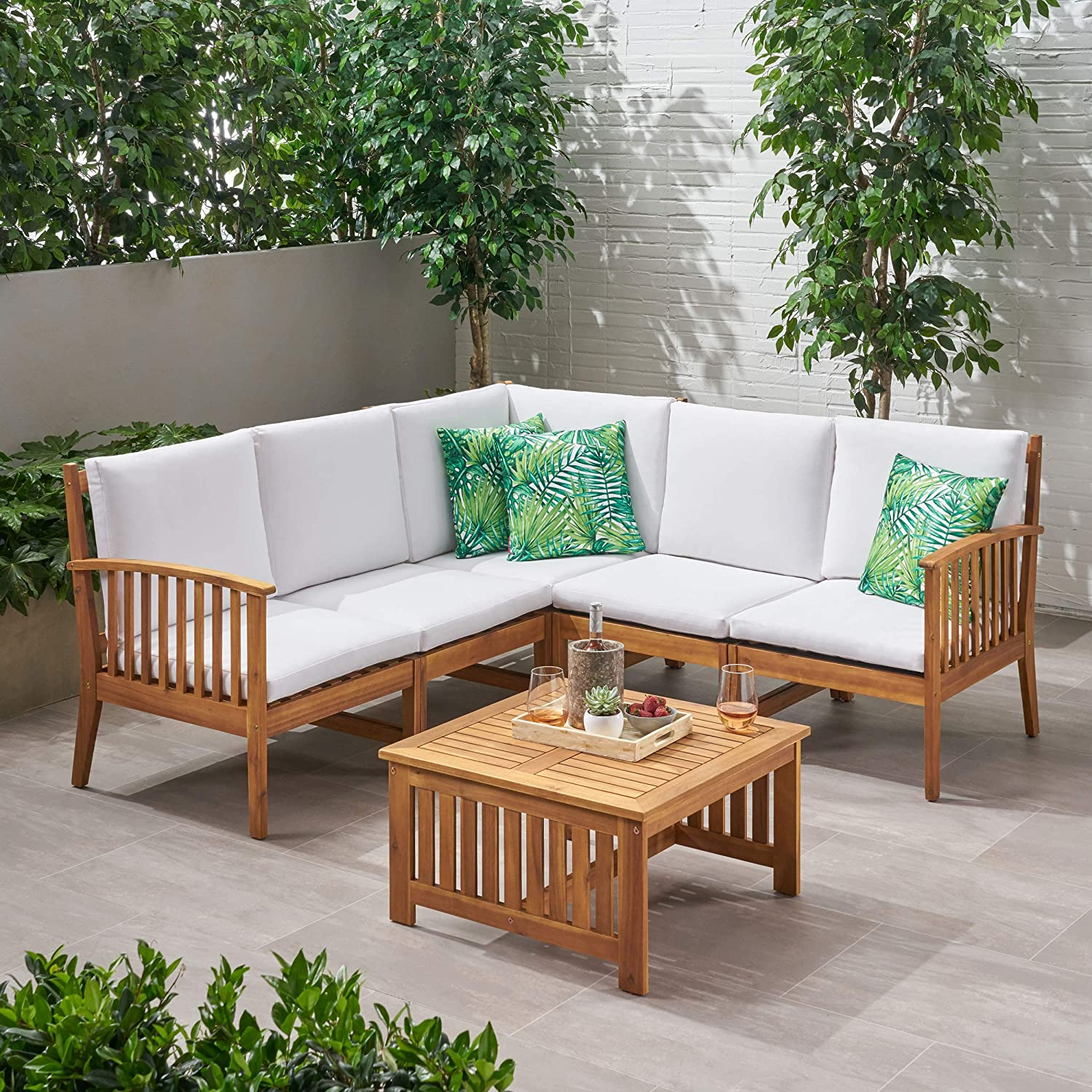 Amazon.com: Maud Outdoor 5 Seater Acacia Wood Sofa Sectional ...