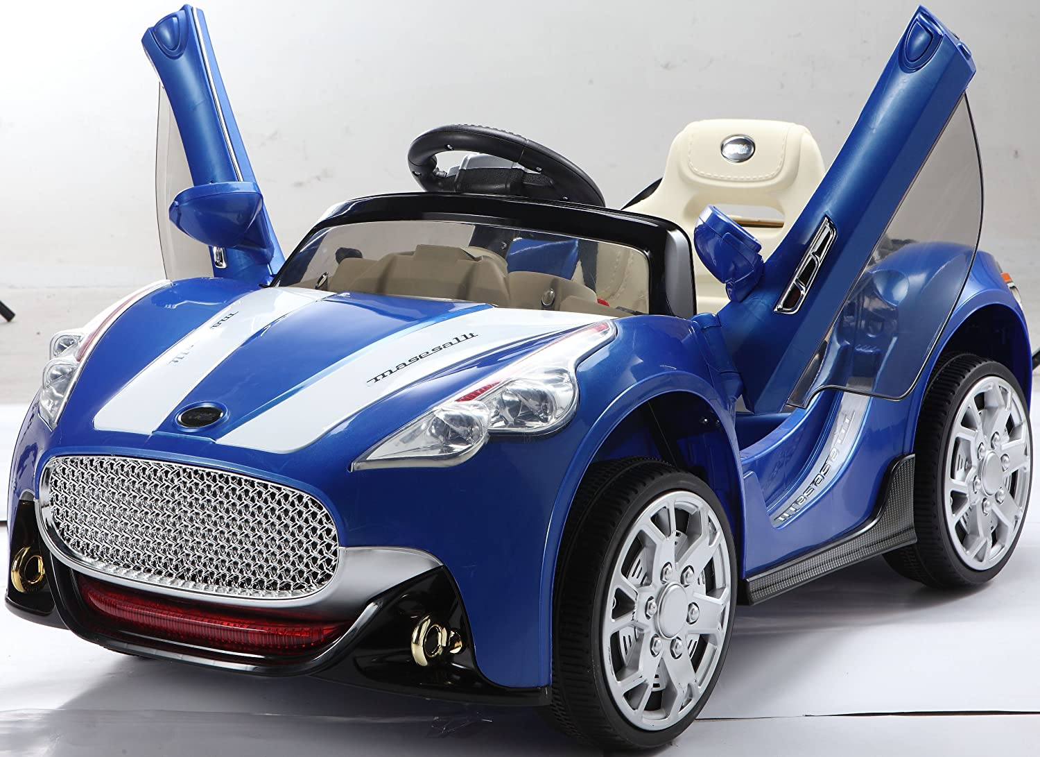 NEW DESIGN MASERATI STYLE BLUE 12V TWIN MOTORS KIDS RIDE ON CAR