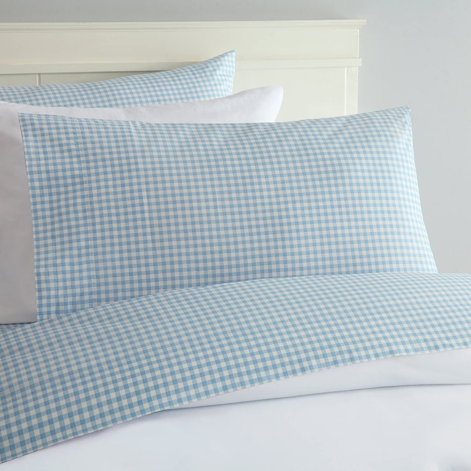 Laurel & Mayfair Gingham Cotton Sheet Set (King, Blue)