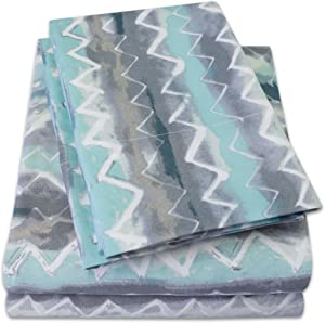 1500 Supreme Collection Extra Soft Summerset Ocean Vibe Chevron Pattern Sheet Set, California King - Luxury Bed Sheets Set with Deep Pocket Wrinkle Free Hypoallergenic Bedding, Printed Pattern