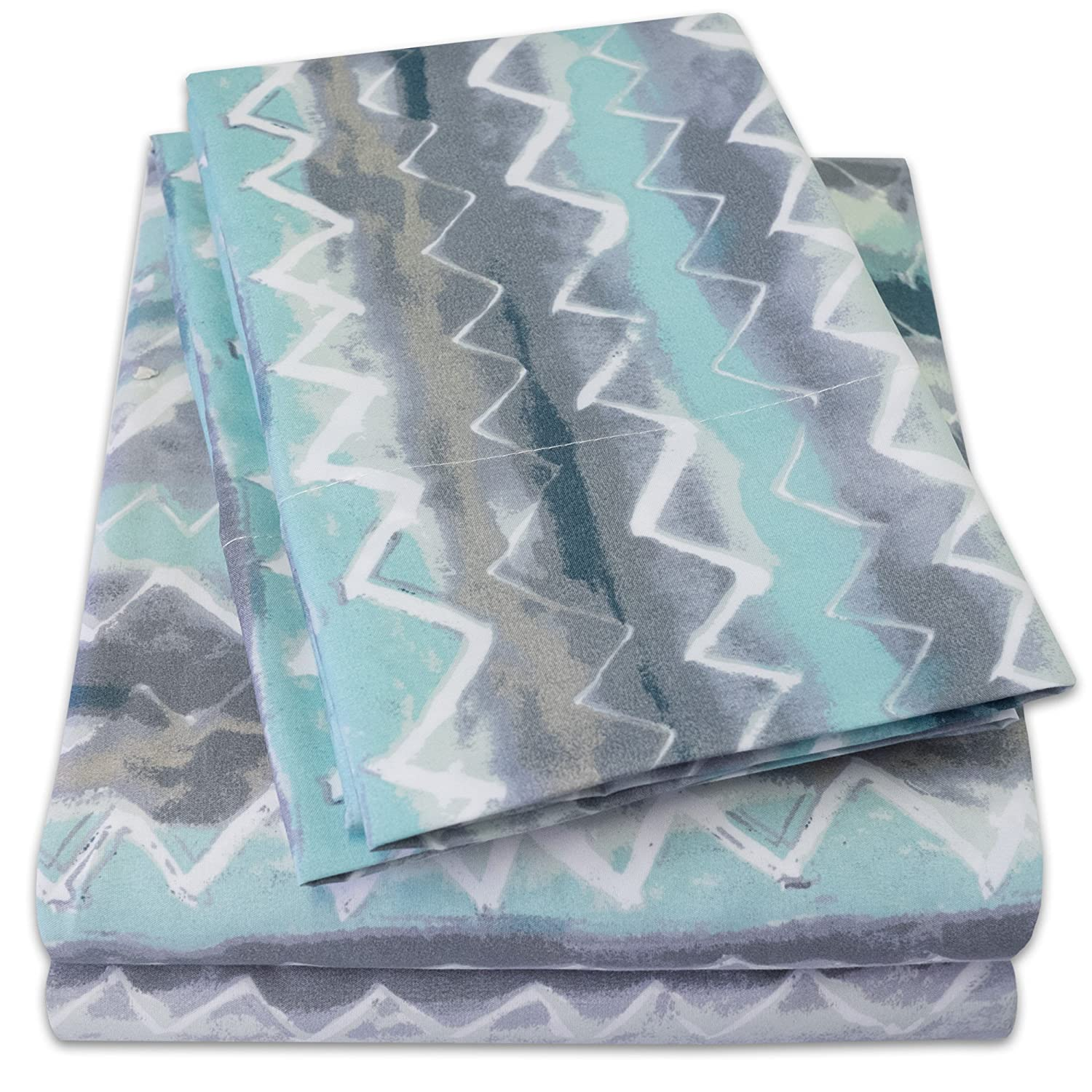 1500 Supreme Collection Extra Soft Summerset Ocean Vibe Chevron Pattern Sheet Set, King - Luxury Bed Sheets Set with Deep Pocket Wrinkle Free Hypoallergenic Bedding, Trending Printed Pattern, King