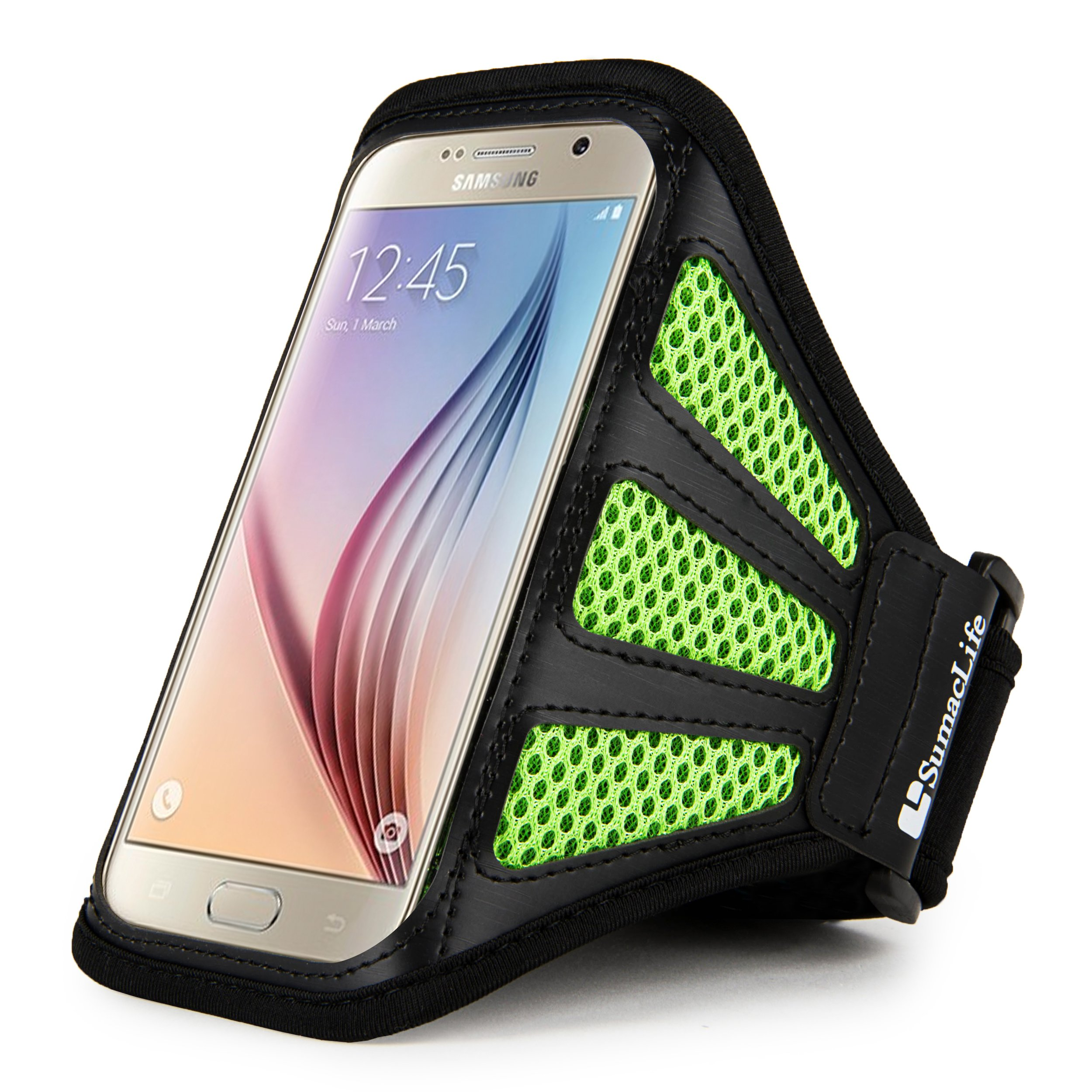 Sumaclife Fashion Mesh Sports Series Cellphone Armband Armlet for Samsung Galaxy J5 (2016) / Amp Prime/Amp 2 / S7 / S6 Edge / S6 / A5 / E5 (Green/Black)