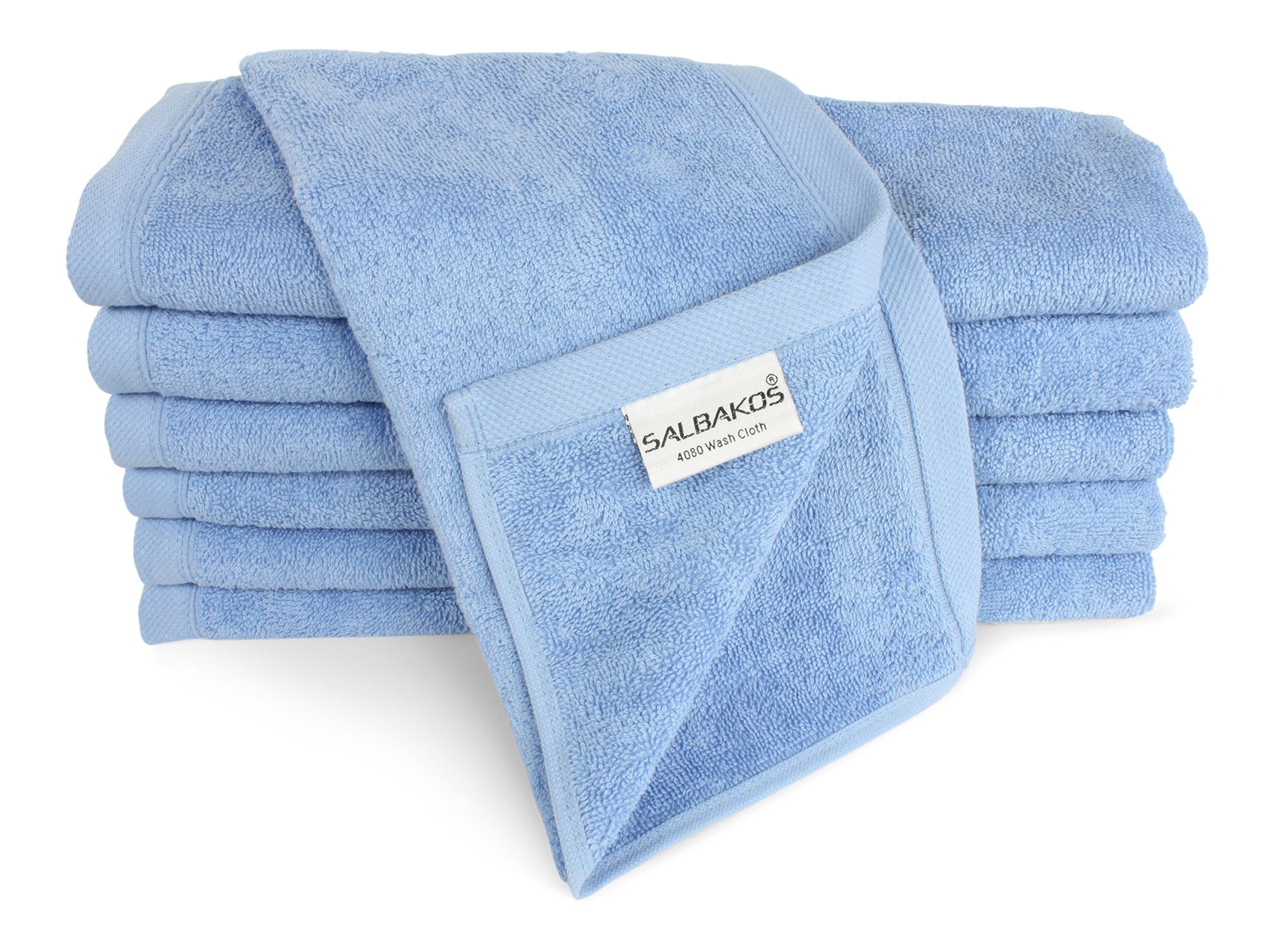SALBAKOS Luxury Hotel & Spa Turkish Cotton 12-Piece Eco-Friendly Washcloth Set Bath, Blue