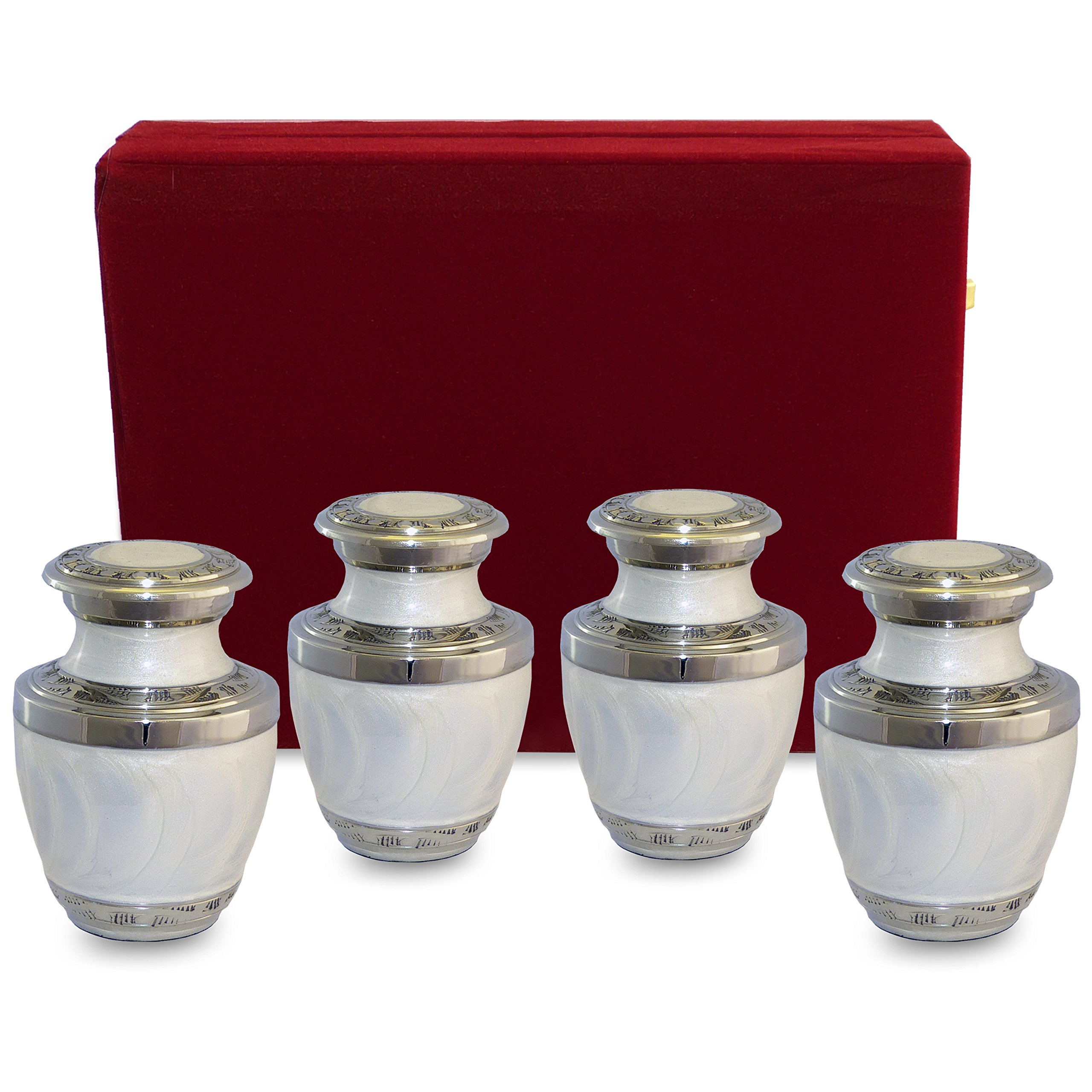 Everlasting Love White Small Keepsake Urns For Human Ashes - Set of 4 - Beautiful and Timeless Find Comfort Everytime You Look At These Mini Cremation Urns - With Velvet Case