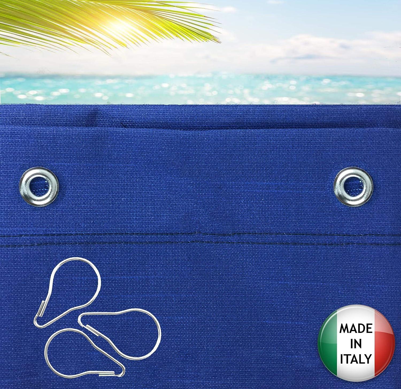 Tende Da Sole per Esterno Con Anelli a Caduta Su Misura MADE IN ITALY Stoffa Tessuto Impermeabile Antimuffa TELi Parasole Laterali Gazebo Balconi Terrazzo Veranda Camper Blu ResinatoX280cm