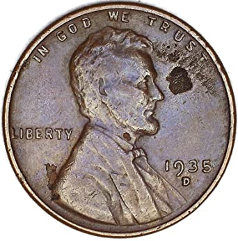 1935 D Lamination Obverse Lincoln Wheat Cent Very Fine at Amazon's