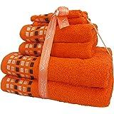 Velosso® - Set di 6 asciugamani, al 100% in cotone pettinato, stile elegante, motivo a mosaico Orange