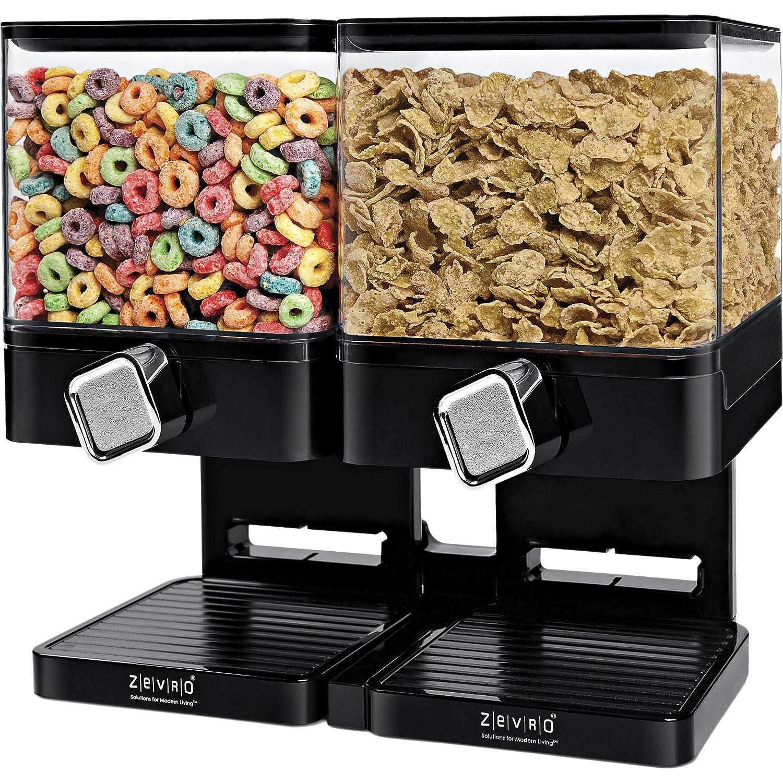 Bidón doble seco sistema de dispensador de alimentos, incluye 2 resistente a los arañazos y inastillable botes en negro, esencial para el hogar Dispensador ...