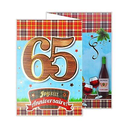 afie 882140 B tarjeta 3 Volets cumpleaños 65 años: Amazon.es ...