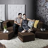 Jaxx Zipline Convertible Sleeper Sofa & Three Ottomans / California King-Size Bed, Java