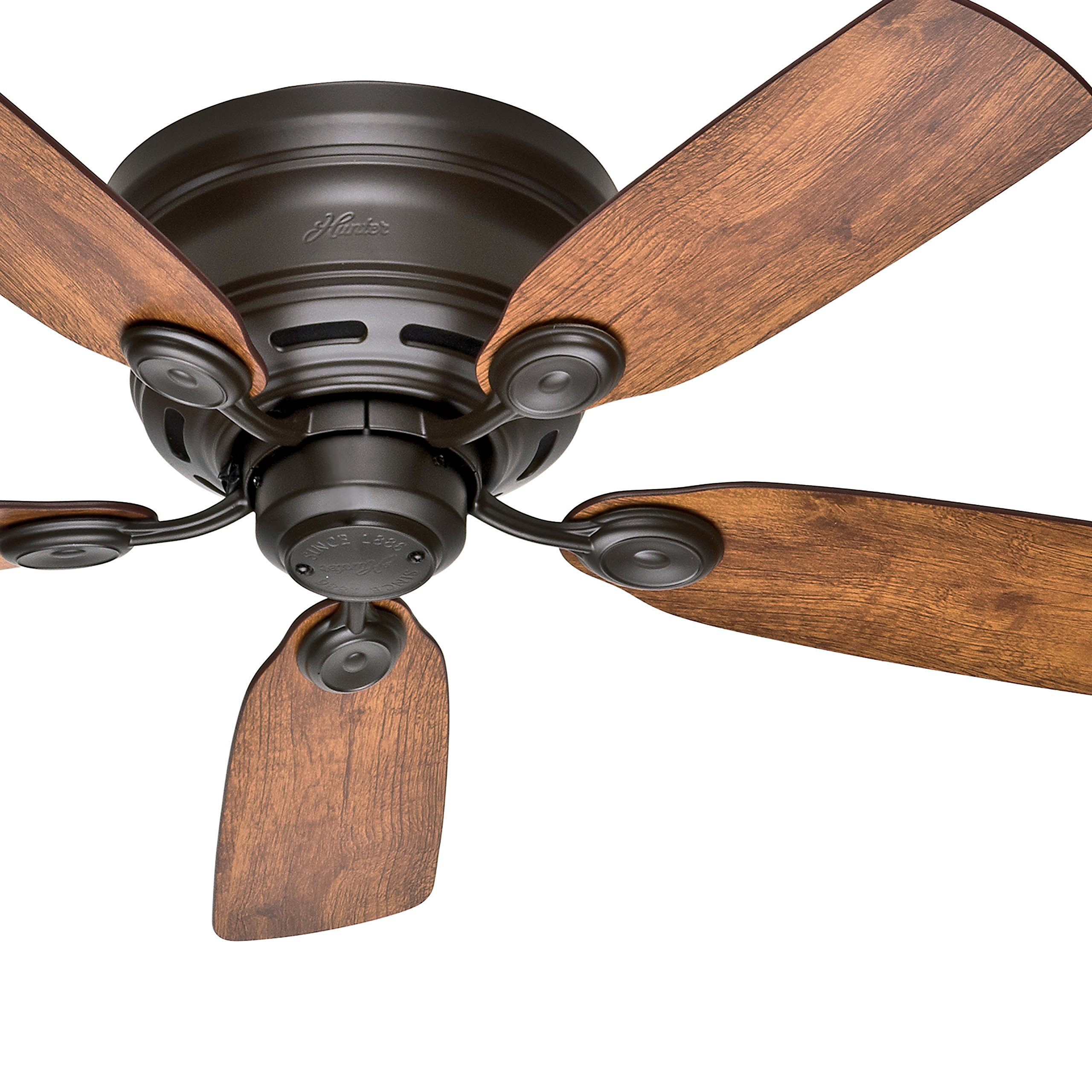 Hunter Fan 42'' New Bronze Finish Low Profile Ceiling Fan with Reversible Weathered Oak / Wine Country Blades (Certified Refurbished)