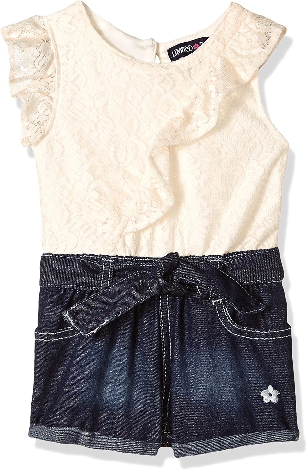 Limited Too Baby Girls 2 Piece Diamond Lace Top and Stretch Denim Short