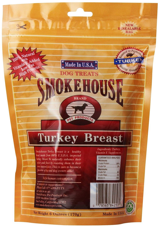 Smokehouse 100-Percent Natural Turkey Breast Dog Treats, Reseal Bag