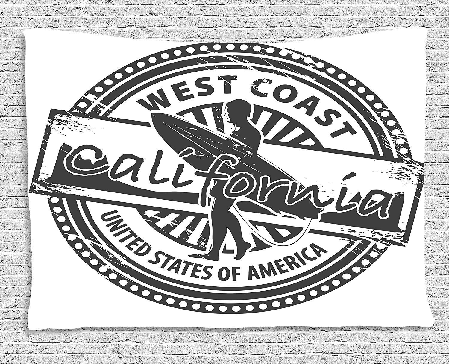 XHFITCLtd Ride The Wave Tapestry, West Coast California United States of America Grunge Vintage Stamp Print, Wall Hanging for Bedroom Living Room Dorm, 80 W X 60 L Inches, Grey White by XHFITCLtd (Image #1)