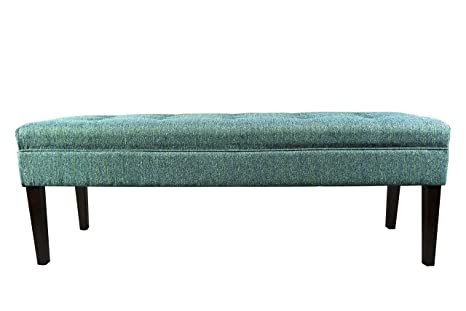MJL Furniture Designs Kaya Collection Upholstered and Padded Button Tufted  Accent Bedroom Bench, Text-2 Olivia Series, Teal
