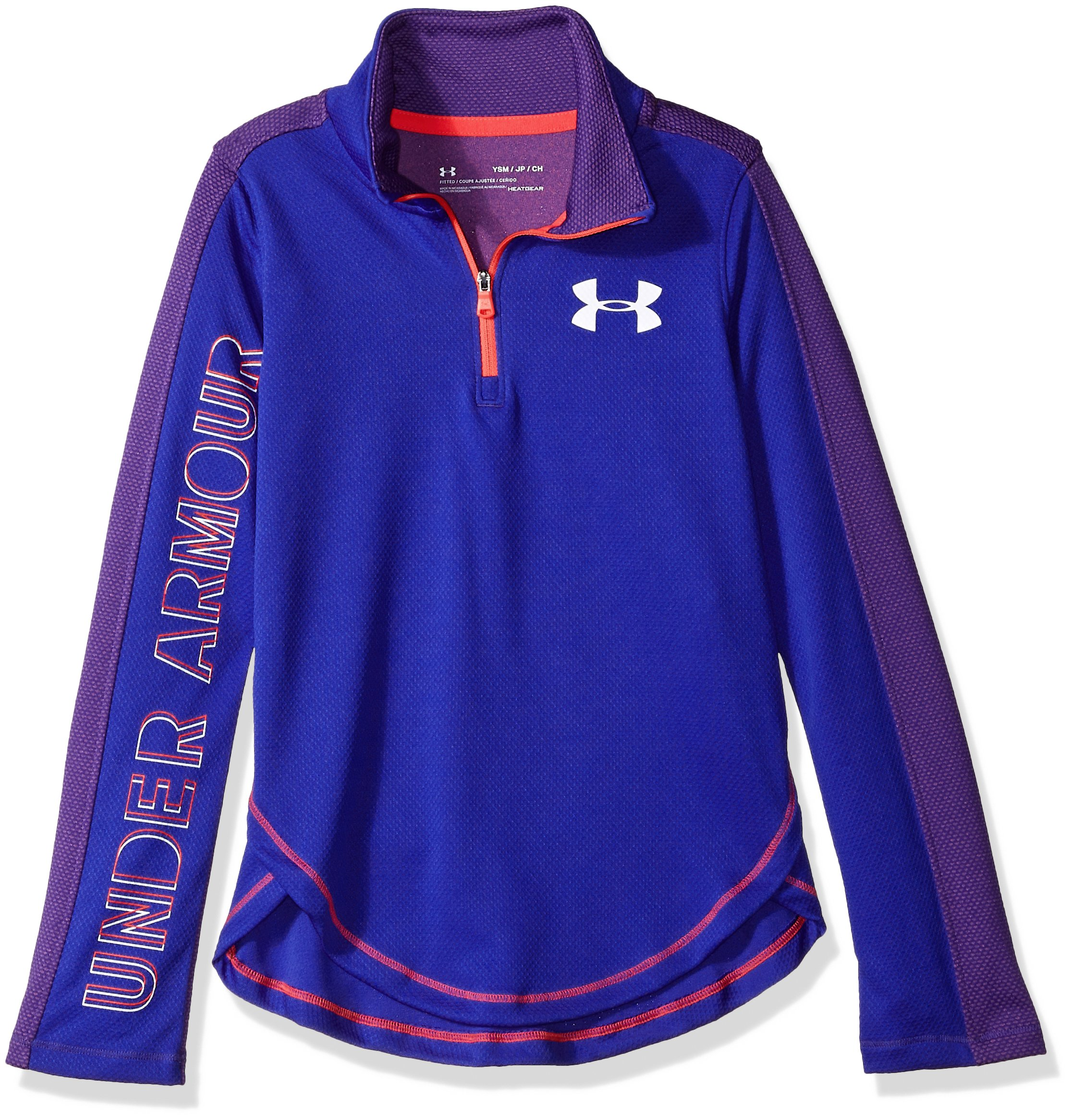 Under Armour Girls Tech 1/2 Zip, Constellation Purple (530)/White, Youth Medium