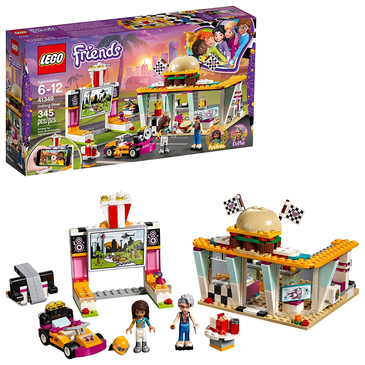 LEGO Friends Drifting Diner 41349 Race Car and Go-Kart Toy Building Kit for Kids, Best Creative Christmas Gift for Girls and Boys (345 Pieces) 6213504