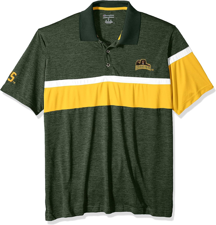 NCAA Mens Champion NCAA Mens Short Sleeve Striped Polo Collared Tee