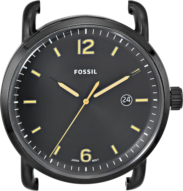 Fossil The Commuter - Caja de Reloj de Acero Inoxidable con Tres Manos, Color Negro