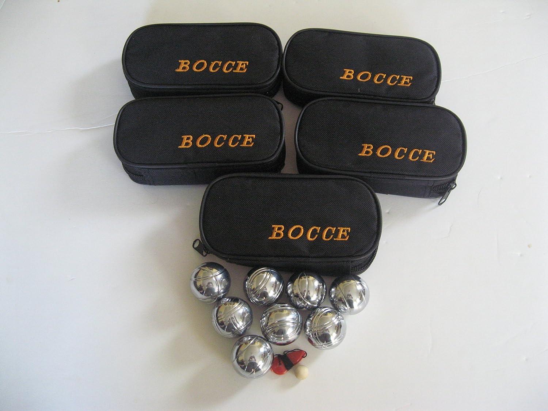 8ボール35 mmメタルMiniボッチェ/ Petanque Set withブラックバッグ – 5パック