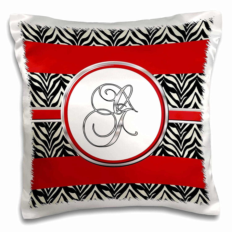 3dRose Elegant Red Black Zebra Animal Print Monogram Letter H-Pillow Case 16 by 16 pc/_180703/_1