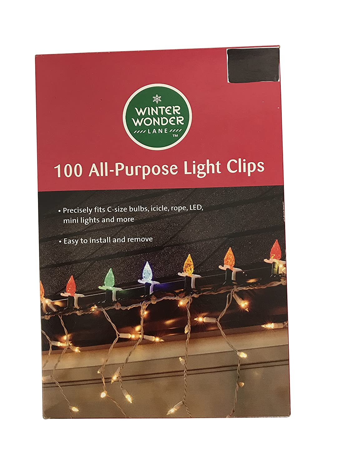 100 Large All-Purpose Christmas Light Clips for Hanging Lights on Shingles or Gutter, Fits C-Size, Icicle, Rope, LED, Mini Lights, and More Adams Manufacturing