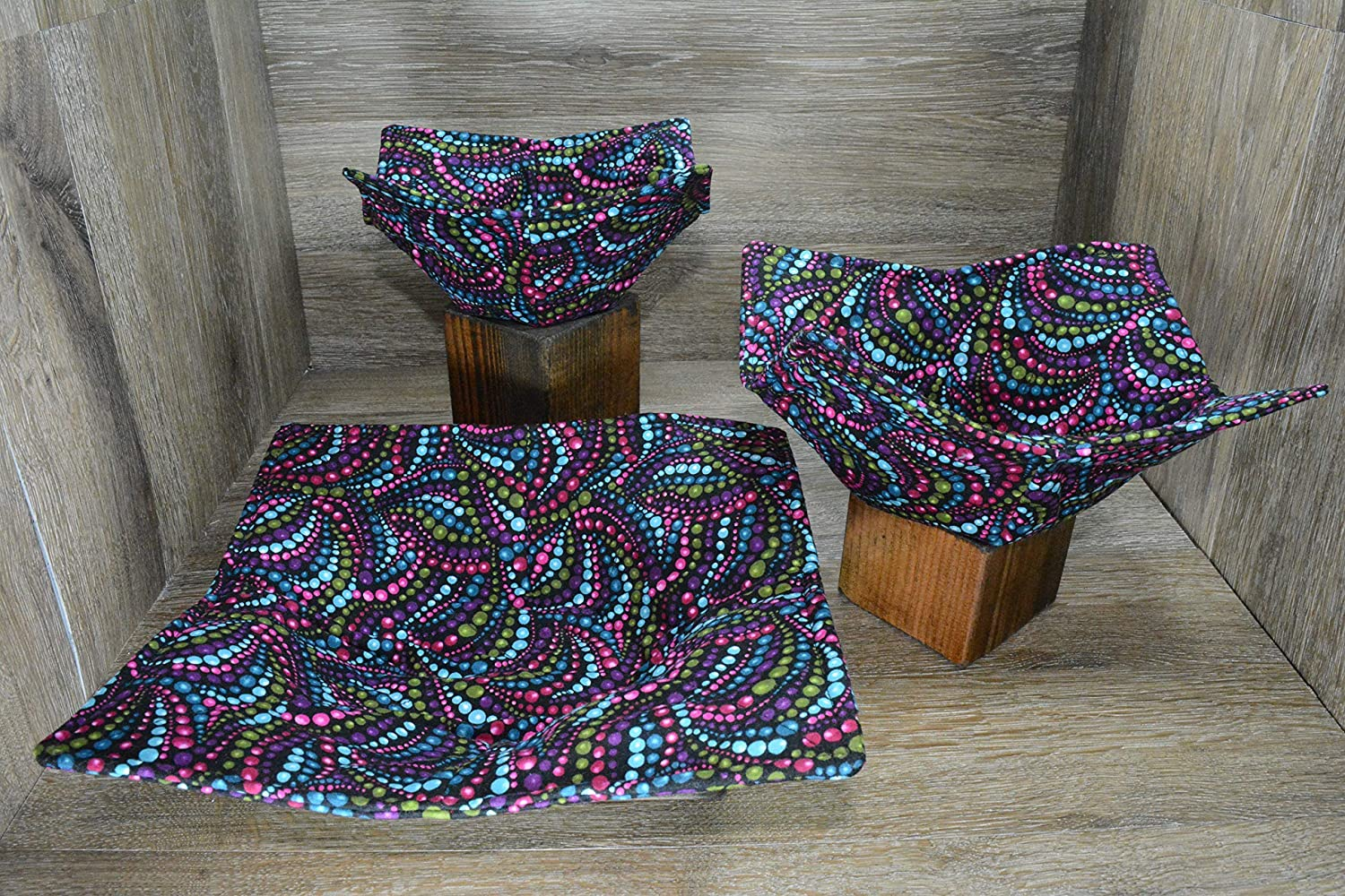 Microwave Bowl Cozies // Set of 3 // 1 Small Bowl Cozy // 1 Medium Bowl Cozy // 1 Dinner Plate Cozy // Beaded Masquarade