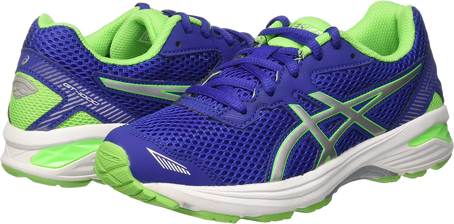 Asics Gt-1000 5 GS, Zapatillas de Gimnasia Unisex-niños, BLU Blue/White/Green Gecko, 34 1/2 EU: MainApps: Amazon.es: Zapatos y complementos