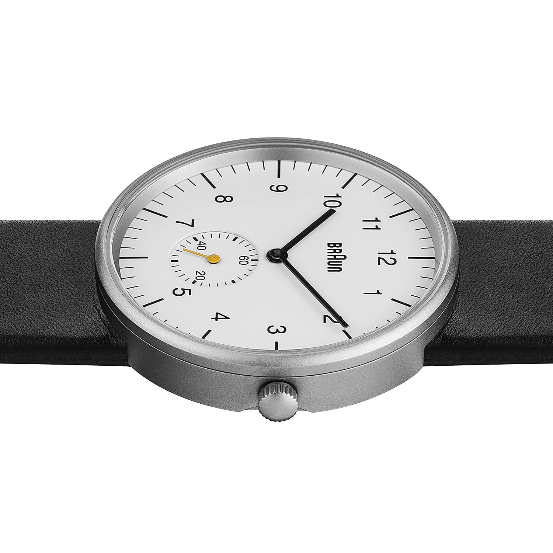 2bb5d3d0a8b8 Braun BN0024WHBKG - Reloj analógico de caballero de cuarzo con correa de  piel negra  Amazon.es  Relojes