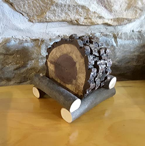 Christmas Tablescape Decor - Rustic Handmade Black Walnut Tree Sliced Coasters - Set of 4 with Log Holder