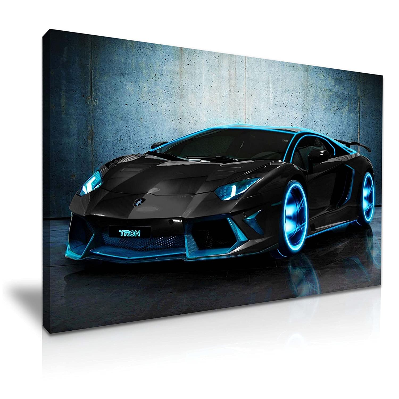 Lamborghini Aventador Tron Super Car Canvas Wall Art Picture Print 76x50cm