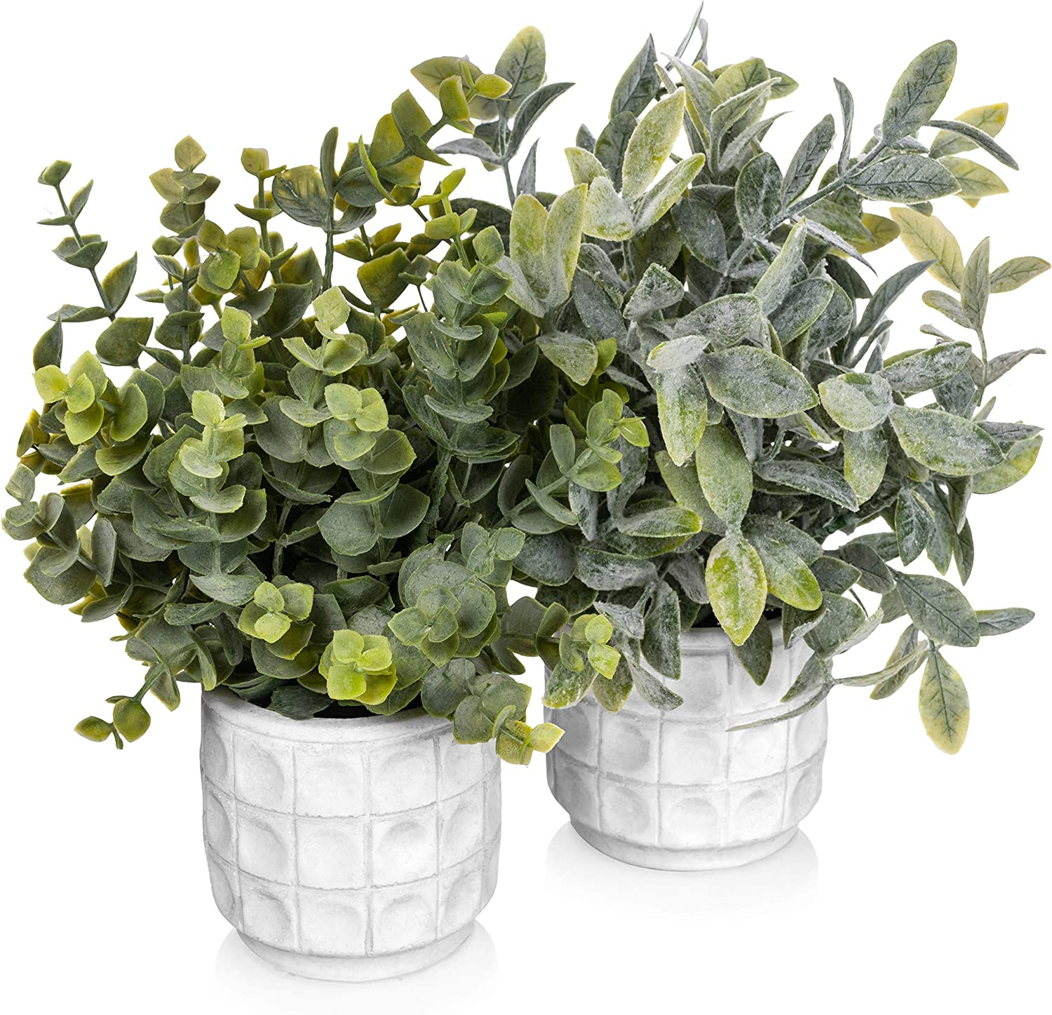 Small Artificial Potted Plants - Fake Plants Decor White Pot - Faux Potted Plant for Home Office Shelf Desk Table Bathroom Decor - Small Artificial Plants for Home Decor Indoor