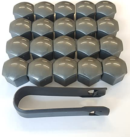 Viktex 20 Radschrauben Abdeckungen Radmuttern Kappen Set 17mm Grau Glanz Abzieher Auto
