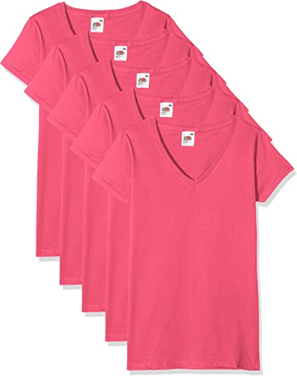 TALLA S. Fruit of the Loom Valueweight Camiseta (Pack de 5) para Mujer