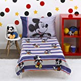 Disney Mickey Mouse - Beyond Classic - 4 Piece Toddler Bed Set - Coral Fleece Toddler Blanket, Fitted Bottom Sheet, Flat Top