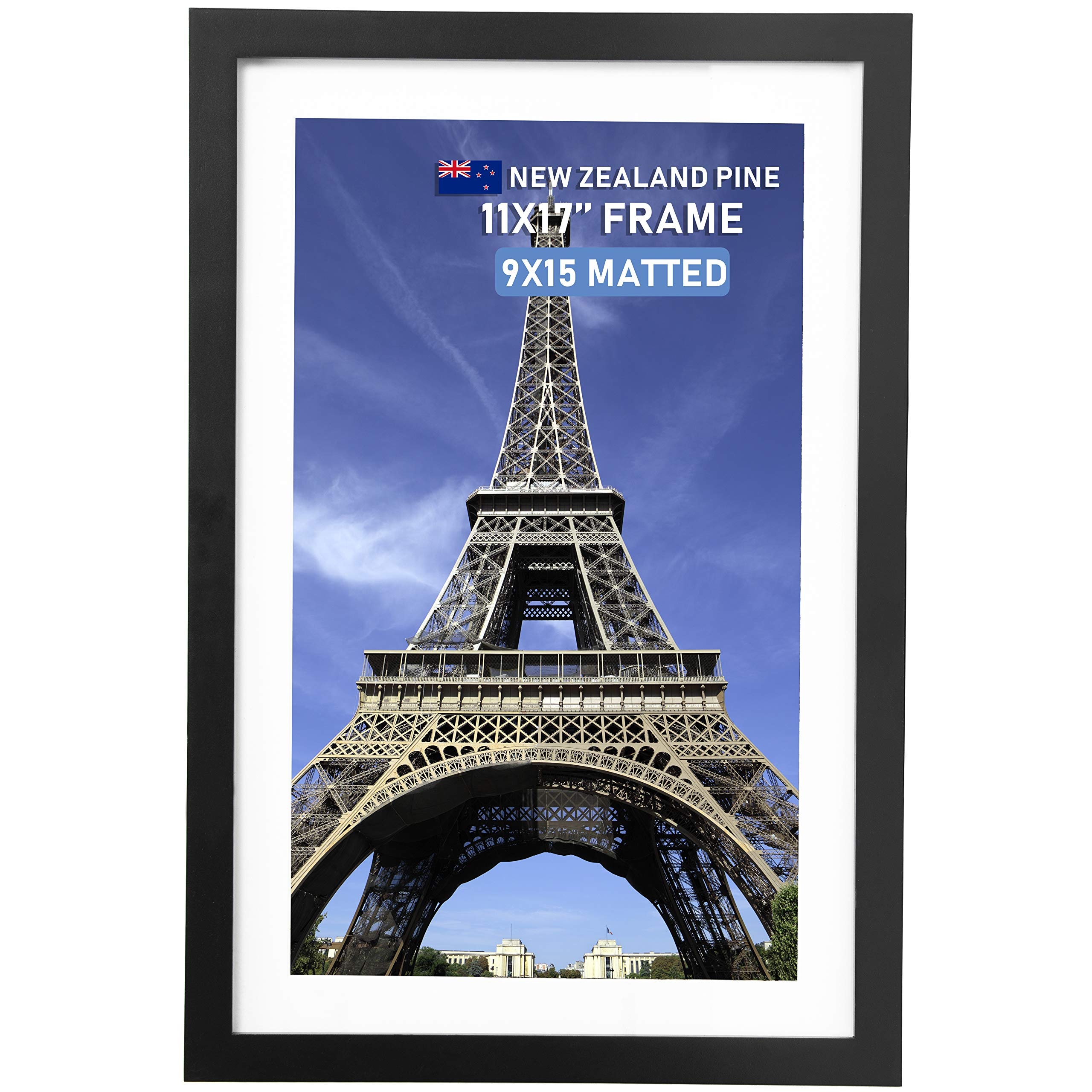 Beyond Your Thoughts Wood + Real Glass (Hang/Stand) 11X17 Black Picture Photo Frame with Matted for 9X15 Photo for Wall and Table Top-Mounting Hardware Included(1 Pack)