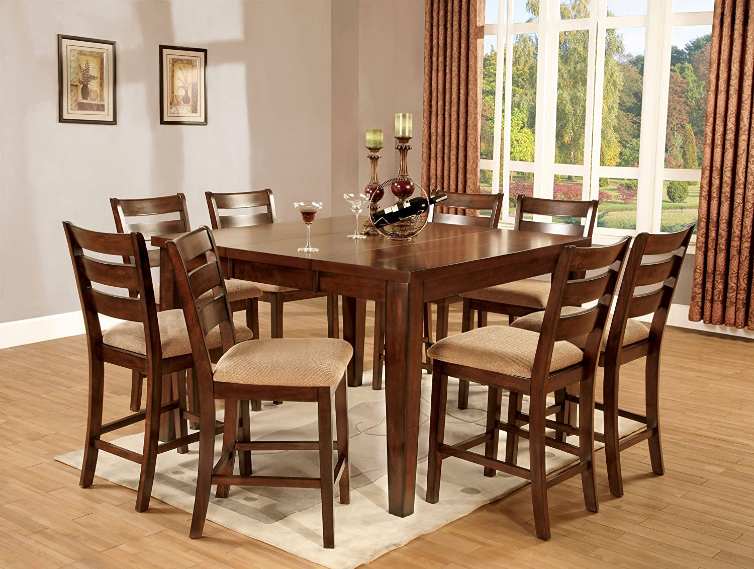 Furniture of America Terri 7-Piece Mission Style Counter Height Table Set with 18-Inch Leaf, Antique Oak Finish