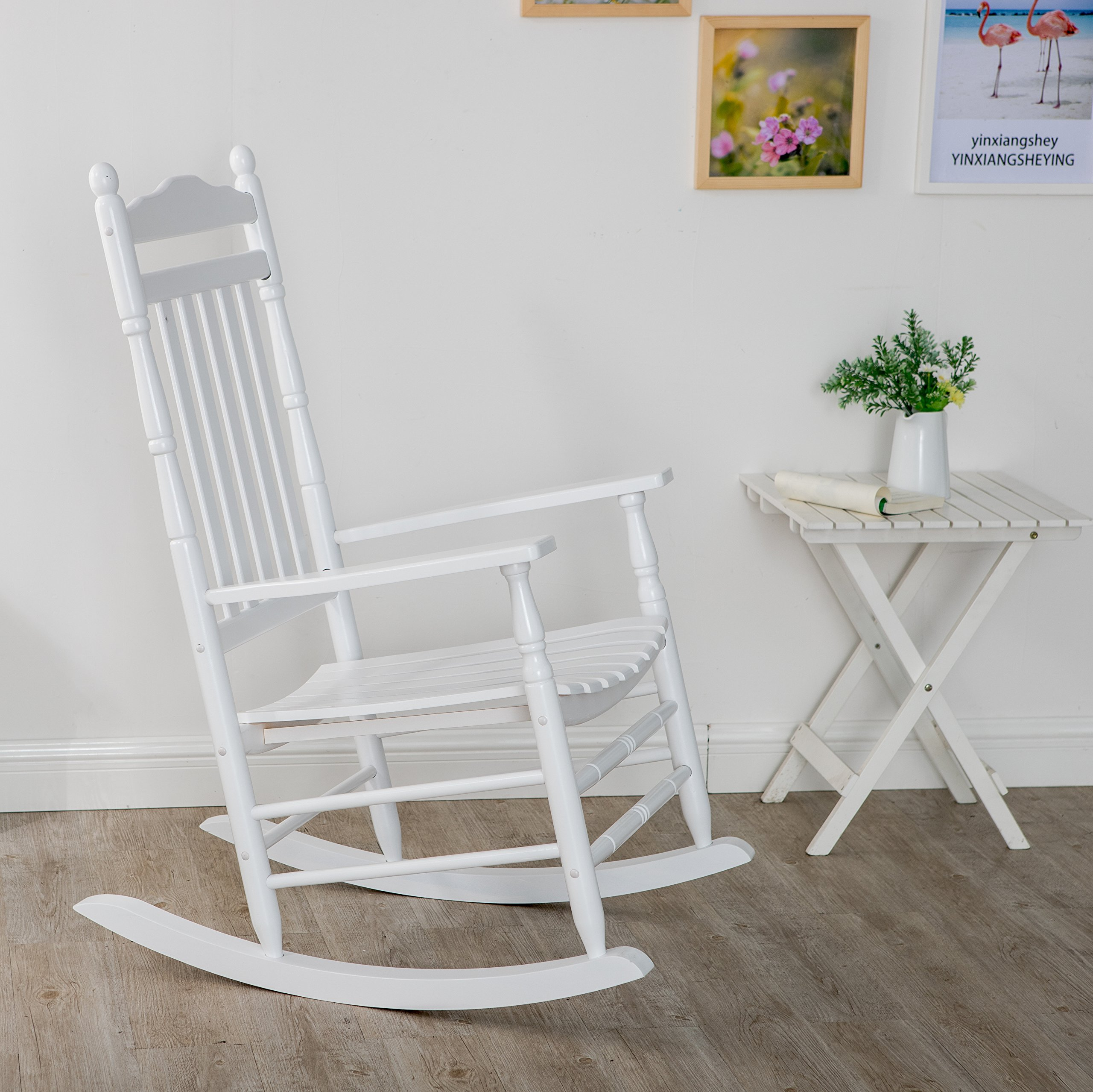 B&Z KD-22W Wooden Rocking chair Porch Rocker White Outdoor Traditional Indoor by B&Z (Image #2)
