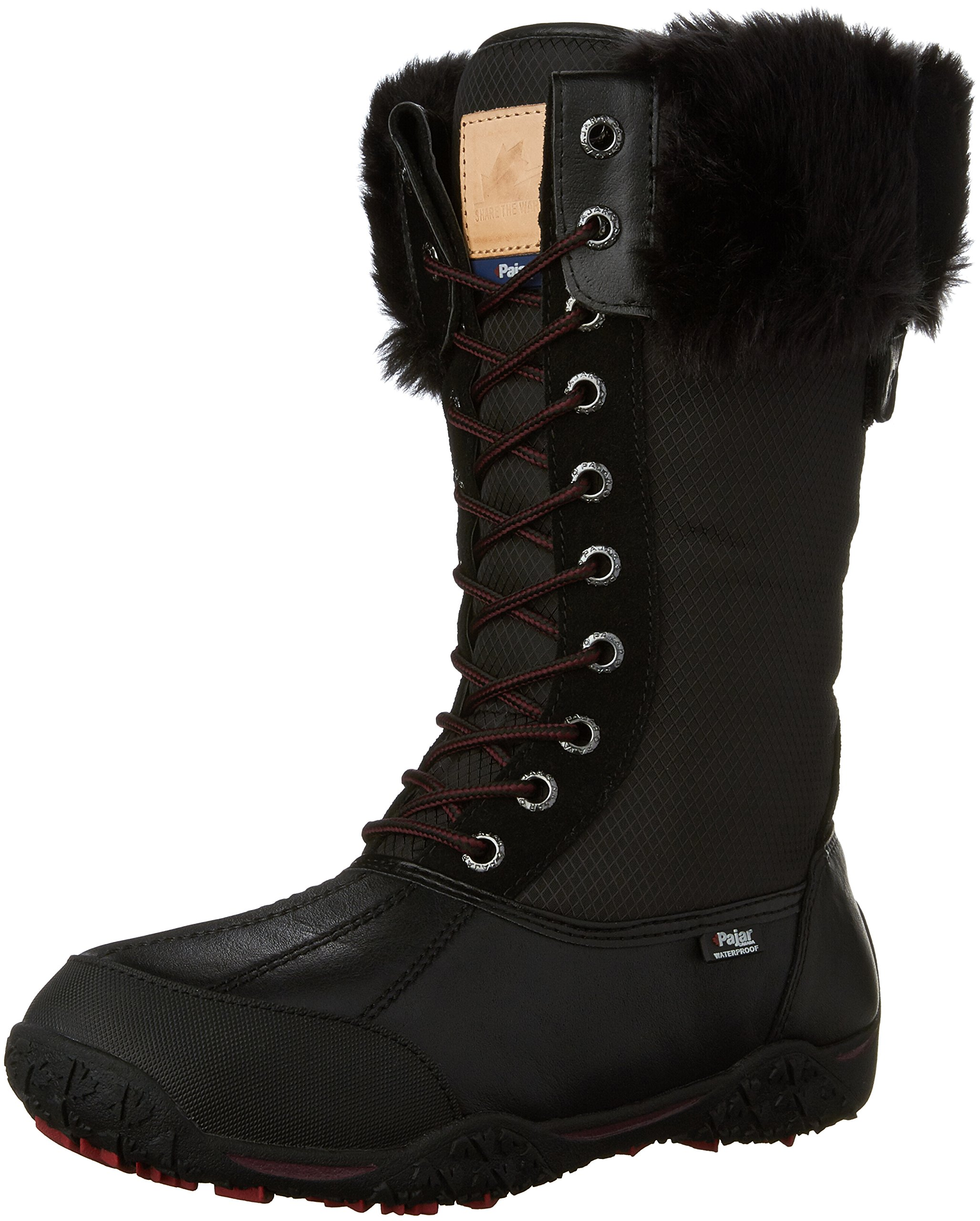 Pajar Women's Genevieve Snow Boot, Black/Black, 39 EU/8-8.5 M US