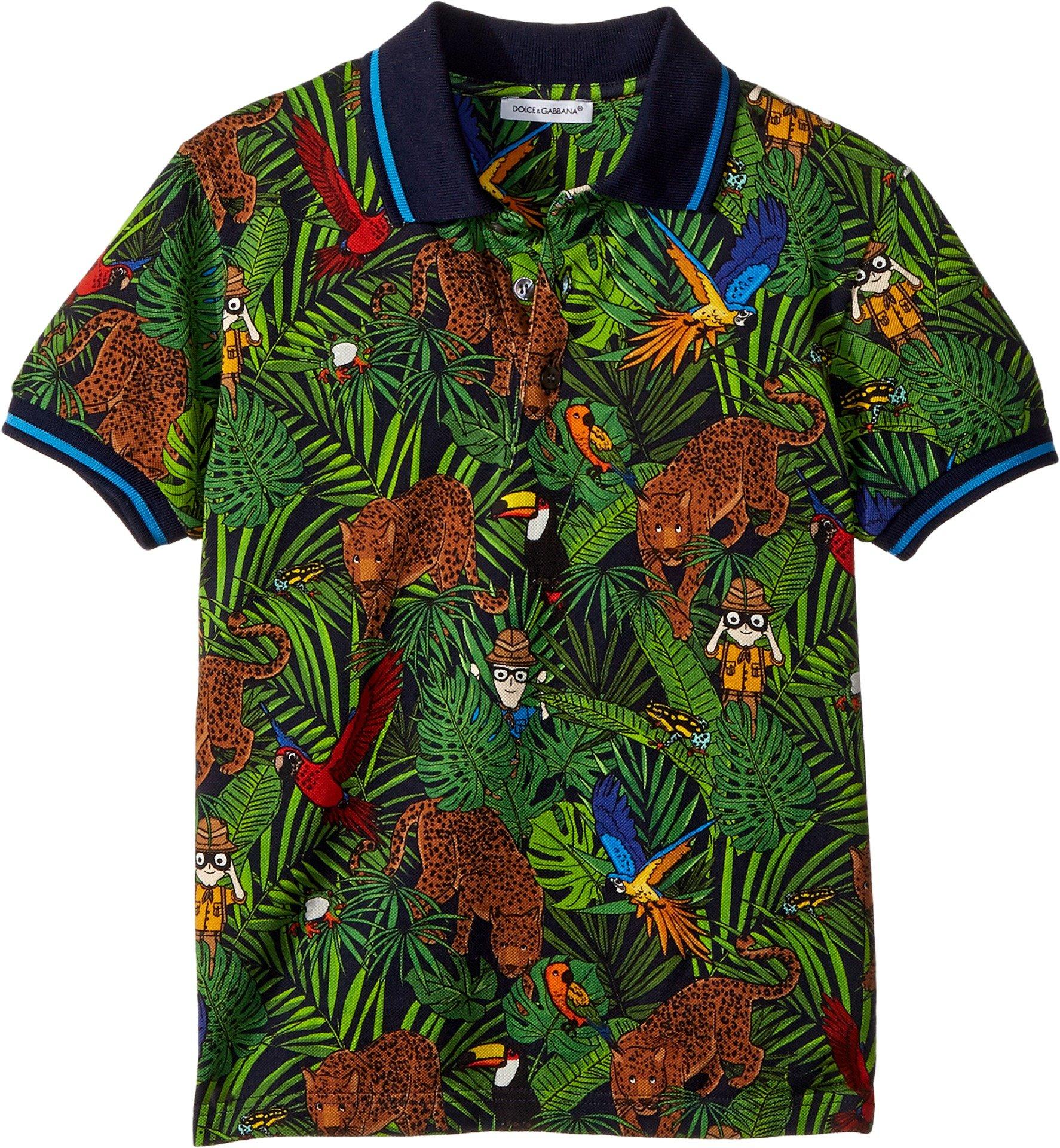 Dolce & Gabbana Kids Baby Boy's Short Sleeve Polo Shirt (Toddler/Little Kids) Blue Print 4 US Little Kid