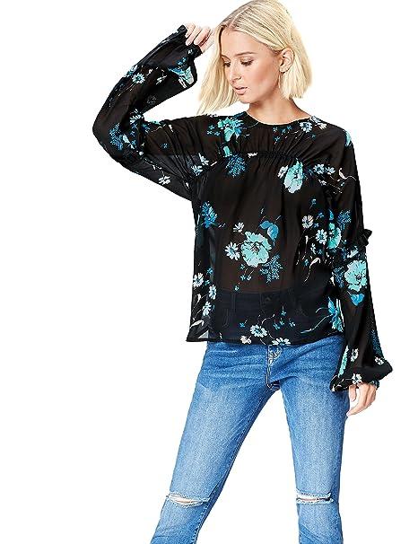 9c80331d9023f6 find. Blusa a Manica Lunga con Rouche Donna: Amazon.it: Abbigliamento