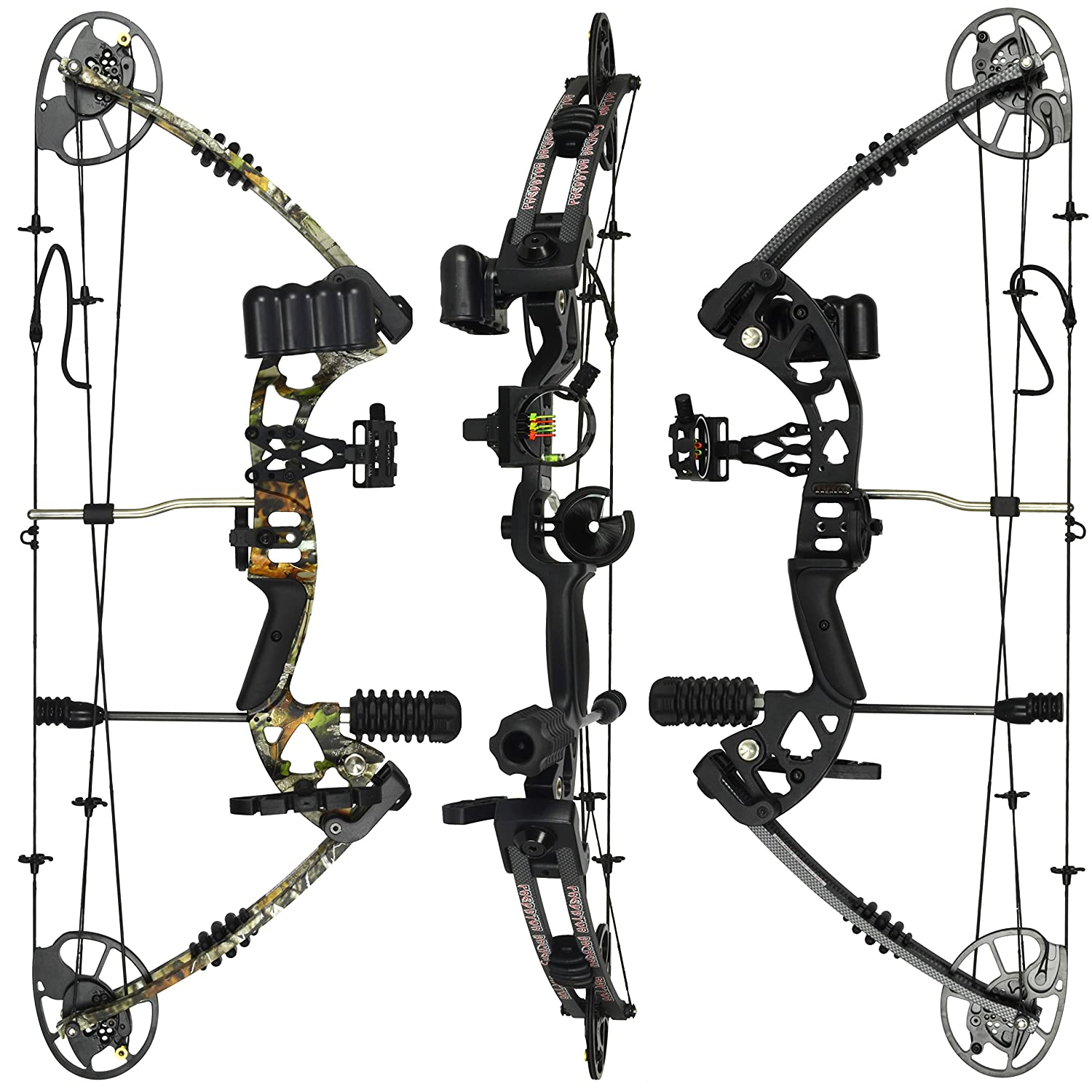 RAPTOR Compound Hunting Bow Kit LIMBS MADE IN USA Fully adjustable 24.5-31 Draw 30-70LB pull Up to 315 FPS WARRANTY 100 30 day GUARANTEE 5 Pin Lighted Sight, Biscuit Rest W STRING STOP