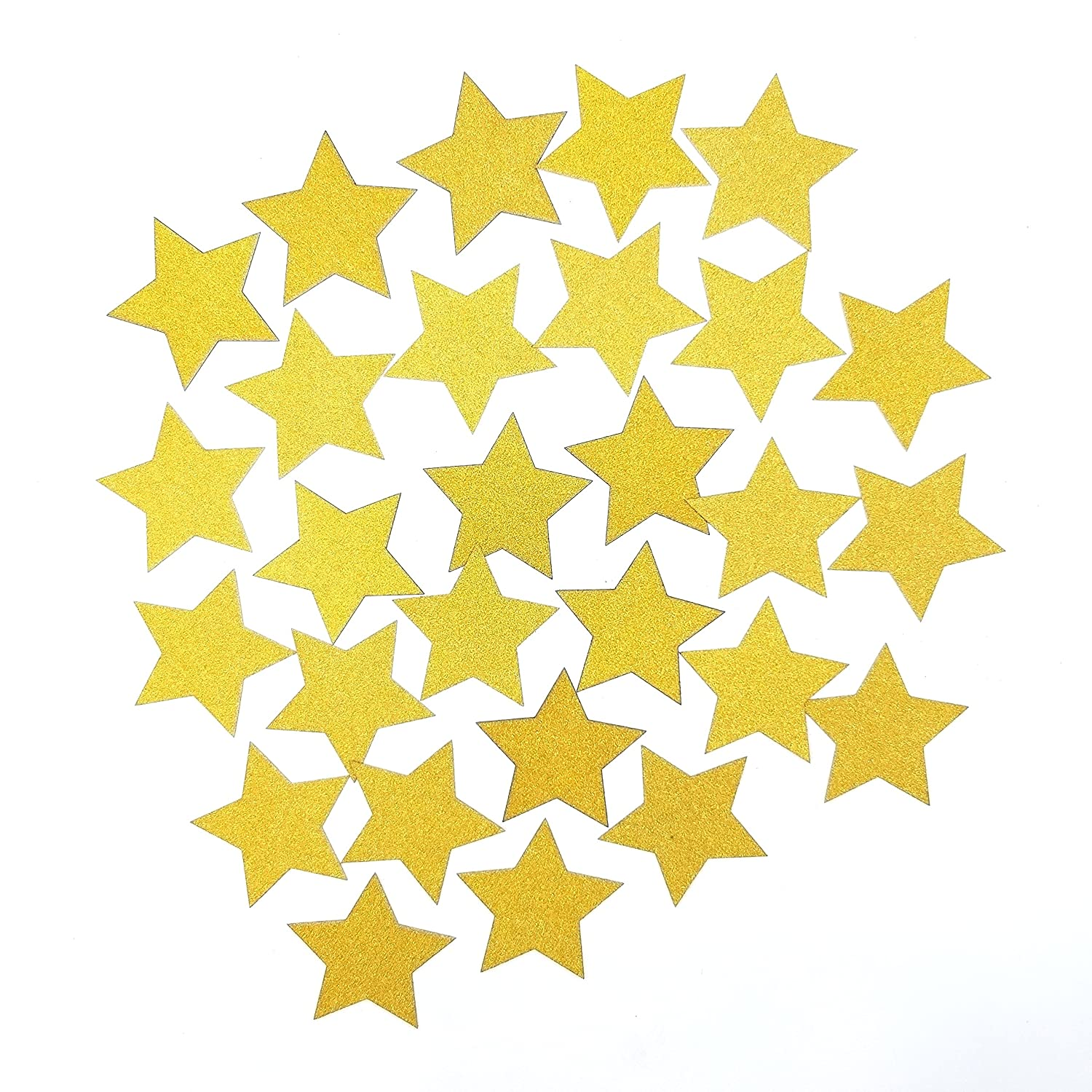 2 Inches Double Sided Gold Glitter Star Hand Punched Die Cuts Party Table Decor Confetti,Per Pack of 50